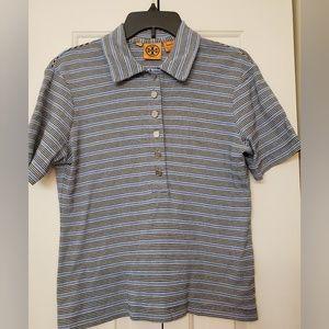 Tory Burch Stripe Polo Tee Shirt L